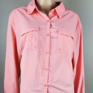 Columbia Omni Shade Button Down Coral/Pink Top